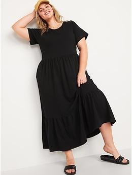 Fit & Flare Tiered Slub-Knit Midi Dress for Women