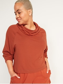 Cozy-Knit Cowl-Neck Cropped Lounge Top for Women