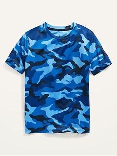 Go-Dry Short-Sleeve Camo-Print Mesh Performance T-Shirt For Boys