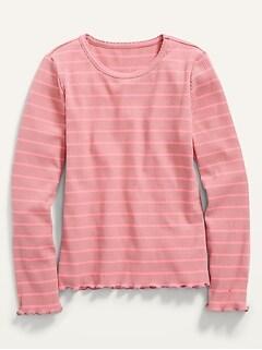 Striped Rib-Knit Lettuce-Edge T-Shirt  for Girls