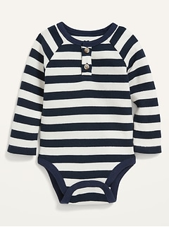 Unisex Long-Sleeve Striped Thermal Henley Bodysuit for Baby