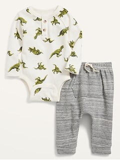 Thermal Henley Bodysuit and U-Shaped Pants Set for Baby