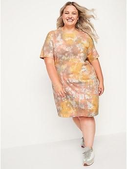 Vintage Short-Sleeve Tie-Dye Mini Swing Dress for Women