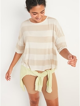 Oversized Luxe Striped T-Shirt for Women