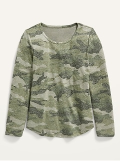 Cozy-Knit Long-Sleeve Printed T-Shirt for Girls