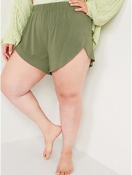 Shorts de pyjama en jersey ultra doux taille haute à ourlet fendu pour Femme– Entrejambe de 8cm