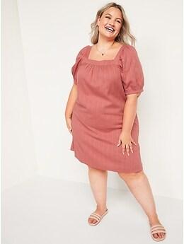 Puff-Sleeve Dobby Mini Swing Dress for Women