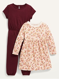 2-Piece Jersey Dress and One-Piece Set for Toddler Girls