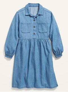 Medium-Wash Jean Shirt Dress for Girls