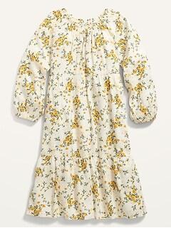 Floral Midi Long-Sleeve Dress for Girls