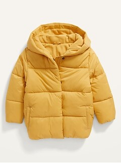 Unisex Solid Frost-Free Hooded Puffer Jacket for Toddler