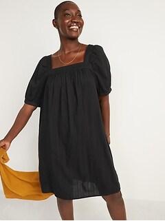 Mini-robe trapèze armurée à manches bouffantes pour Femme