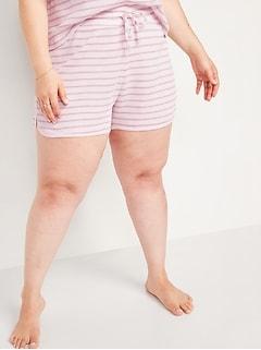 Short de pyjama en tricot isotherme à taille haute, entrejambe de 9cm, taille forte