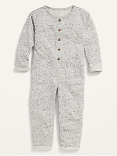 Cozy Long-Sleeve French Terry One-Piece for Toddler Girls