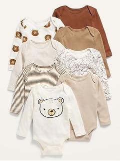 Long-Sleeve Unisex 8-Pack Bodysuit for Baby
