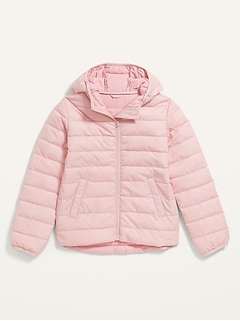 Water-Resistant Narrow-Channel Hooded Puffer Jacket for Girls
