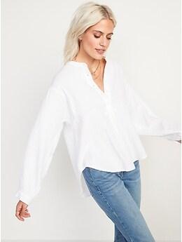Oversized Long-Sleeve Tunic Blouse for Women