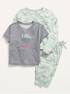 3-Piece Printed Pajama Set for Girls