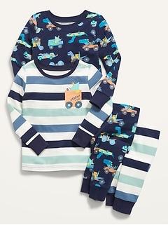 Unisex 4-Piece Pajama Set for Toddler & Baby