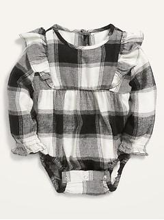 Long-Sleeve Ruffle-Trim Buffalo Plaid Bodysuit for Baby