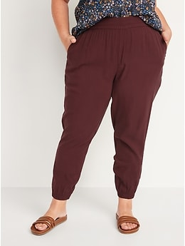 High-Waisted Twill Jogger Pants for Women
