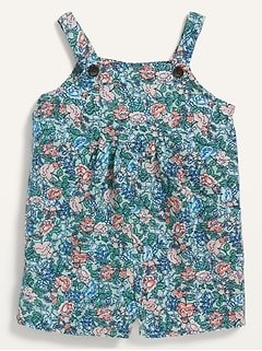 Floral-Print Utility-Pocket Sleeveless Romper for Toddler Girls