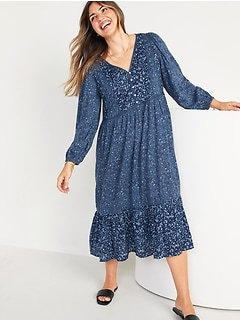 Long-Sleeve Fit & Flare Tiered Midi Dress for Women