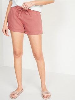 Mid-Rise Linen-Blend Shorts For Women - 4 inch inseam