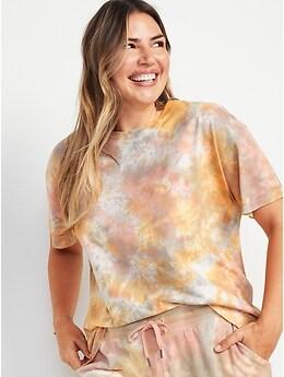 T-shirt confort rétro coupe ample teint par nœuds pour Femme