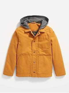 Fleece-Hood Canvas Utility Jacket for Boys