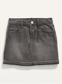 Frayed-Hem Black Jean Skirt for Toddler Girls