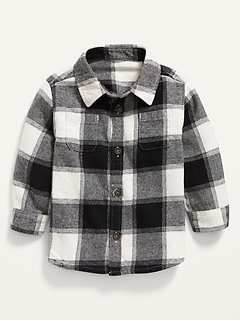 Long-Sleeve Plaid Flannel Utility Shirt for Baby