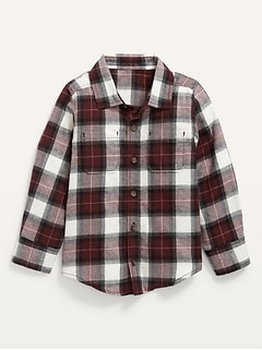 Long-Sleeve Plaid Pocket Shirt for Toddler Boys