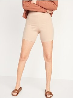 High-Waisted Jersey Biker Shorts for Women -- 6-inch inseam