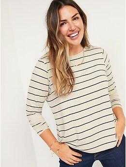 T-shirt ras du cou luxueux à rayures à manches longues pour Femme