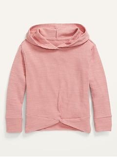 Cozy Rib-Knit Twist-Hem Pullover Hoodie for Girls