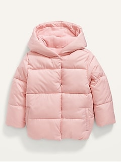 Water-Resistant Frost-Free Hooded Puffer Jacket for Toddler Girls