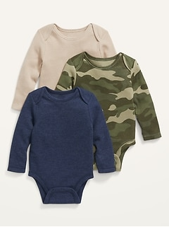 3-Pack Unisex Long-Sleeve Thermal Bodysuit for Baby