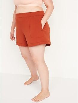 Short de pyjama en tricot douillet à taille haute pour Femme, entrejambe 10cm