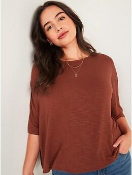 Luxe Oversized Elbow-Sleeve Slub-Knit Tee for Women