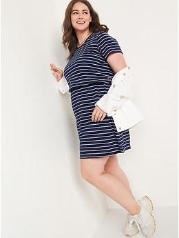 Striped Slub-Knit Waist-Defined T-Shirt Dress for Women
