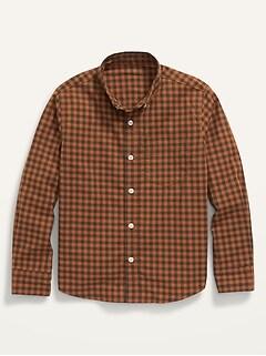 Chemise à guingan avec extensibilité intégrée à manches longues et à poche pour Garçon