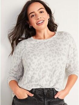 T-shirt imprimé en tricot douillet surdimensionné à manches longues pour Femme