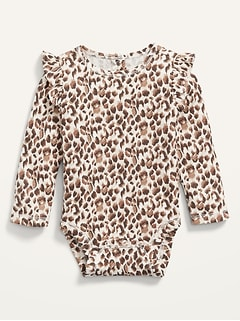 Long-Sleeve Ruffle-Trim Thermal Bodysuit for Baby