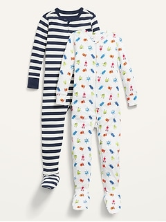 Unisex 2-Pack Footie Pajama One-Piece for Toddler & Baby