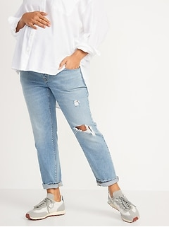 Maternity Full Panel Boyfriend Ripped Jeans