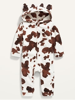 Unisex Micro Fleece Cow-Critter One-Piece for Baby