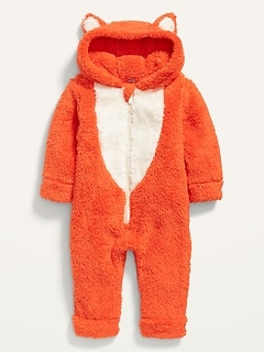 Unisex Fox-Critter Sherpa One-Piece for Baby