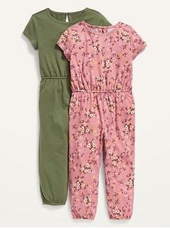 2-Pack Short-Sleeve Jersey Jumpsuit for Toddler Girls