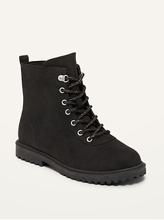 Faux-Suede Lace-Up Combat Boots for Girls